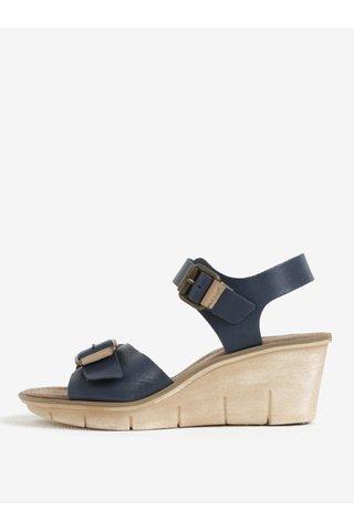 Modré kožené sandálky na klínku Weinbrenner