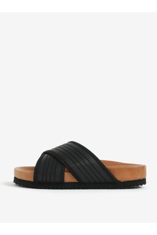 Papuci negri din piele - Selected Femme Mariana