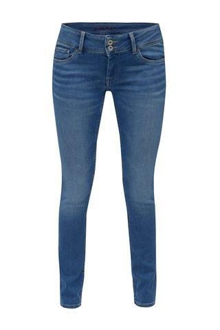 Blugi slim fit albastri cu talie joasa pentru femei - Pepe Jeans Vera