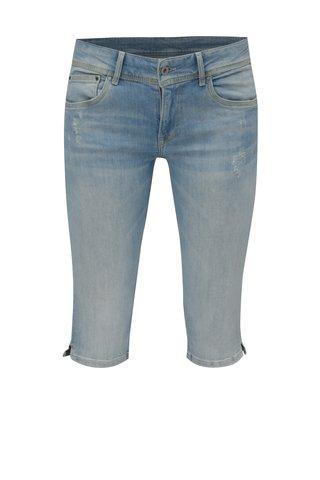 Blugi 3/4 bleu cu aspect uzat si prespalat-  Pepe Jeans Saturn crop