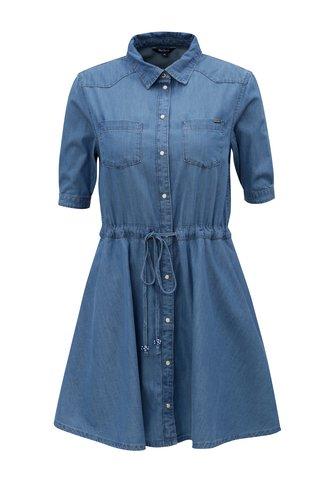 Rochie camasa albastra din denim Pepe Jeans Marta