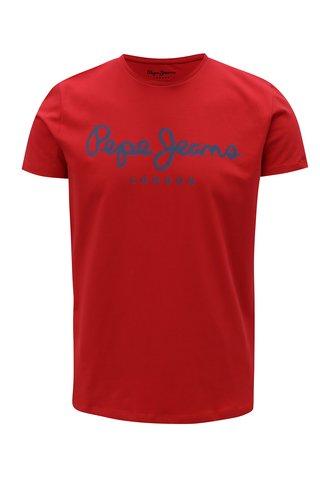 Tricou slim rosu cu print logo - Pepe Jeans Original stretch