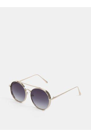 Ochelari de soare rotunzi de culoare aurie Nali
