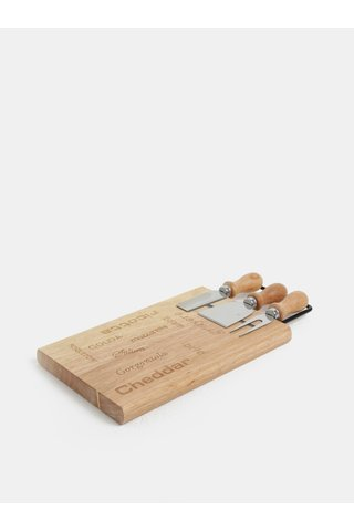 Tocator maro din bambus cu cutite pentru branzeturi Dakls
