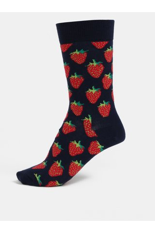 Sosete albastru inchis cu model pentru femei - Happy Socks Strawberry