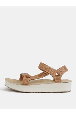 Sandale de dama maro deschis din piele cu model si platforma Teva
