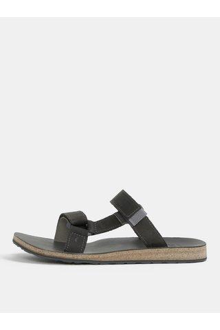 Papuci barbatesti gri din piele Teva