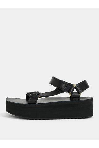 Sandale de dama negre din piele naturala cu platforma Teva