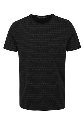 Tricou negru slim fit cu model Jack & Jones Clark