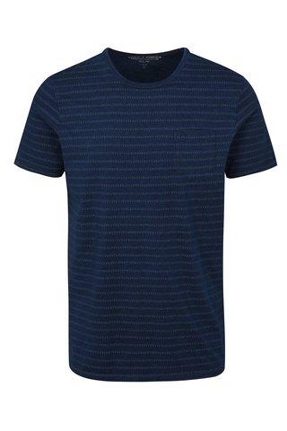 Tricou albastru slim fit cu model Jack & Jones Clark