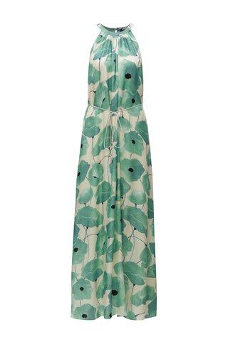 Béžovo-zelené květované maxišaty s páskem Pietro Filipi