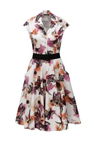 Rochie tip camasa mov&crem cu print floral si cordon - Pietro Filipi