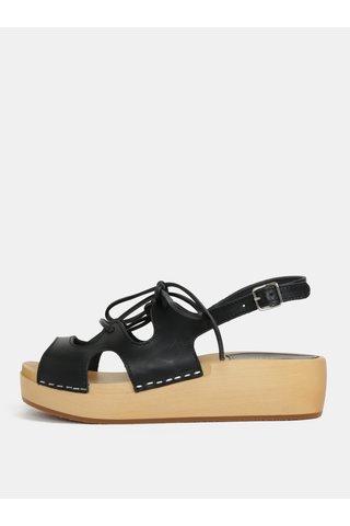Saboti negricu platforma si barete din pieleSwedish Hasbeens Lace Up Sandal