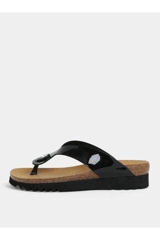 Papuci de dama ortopedici flip-flop negri cu aspect lucios Scholl Mamore