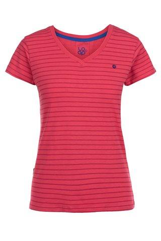 Růžové dámské pruhované tričko LOAP Basha