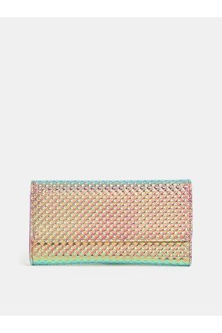 Portofel roz-turcoaz cu aspect metalic si model in relief Anna Smith