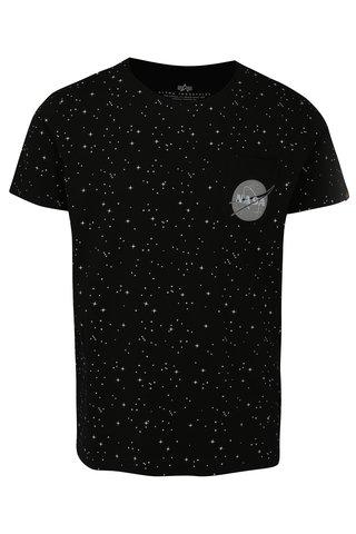 Černé pánské vzorované tričko ALPHA INDUSTRIES