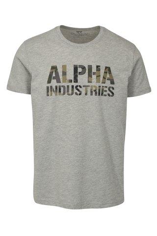 Šedé pánské tričko s potiskem ALPHA INDUSTRIES