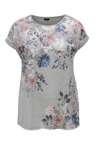 Tricou de dama gri deschis cu efect glitter si model floral M&Co
