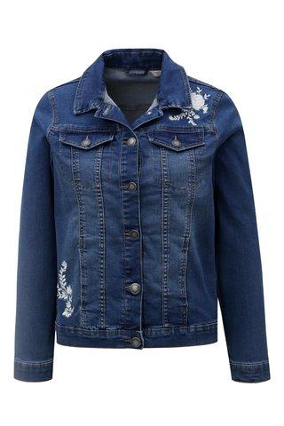 Jacheta de dama albastra din denim cu broderie florala M&Co