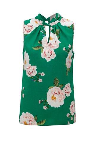 Bluza inflorata verde fara maneci Dorothy Perkins