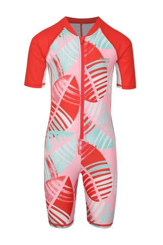 Červeno-růžový holčičí plavkový overal Reima Galapagos