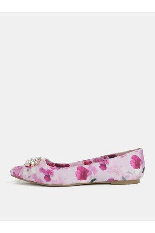 Balerini roz cu model floral si aplicatie Dorothy Perkins