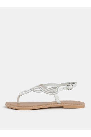 Sandale albe din piele cu decoratie din margele Dorothy Perkins