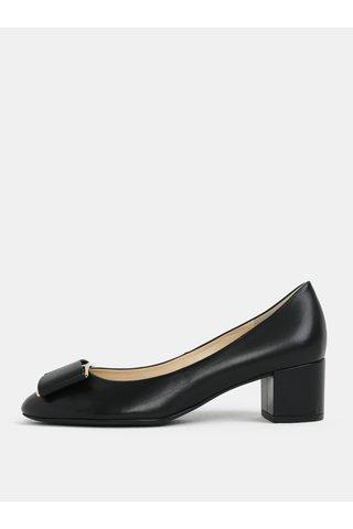 Pantofi negri din piele cu catarama decorativa - Högl