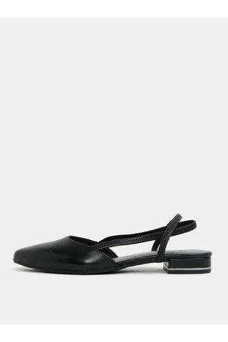 Sandale negre din piele naturala cu varf acoperit Tamaris