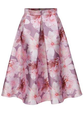 Fusta midi clos roz cu model floral Dorothy Perkins