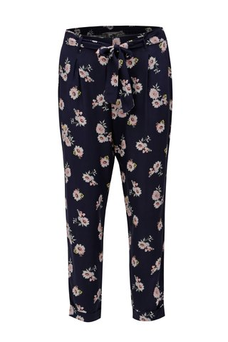 Pantaloni lejeri albastru inchis crop cu model floral Dorothy Perkins Petite