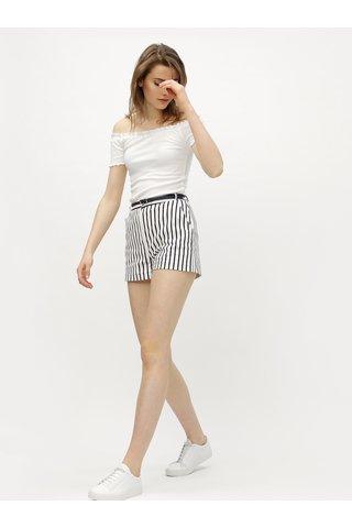 Pantaloni scurti albastru-alb in dungi cu talie inalta Miss Selfridge
