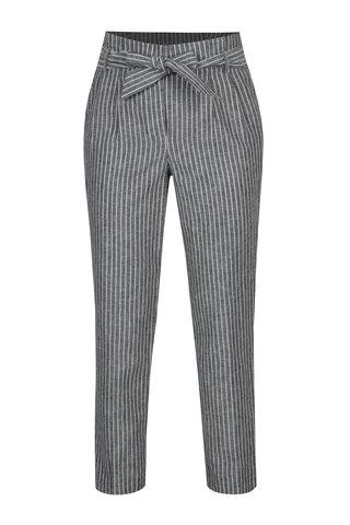 Pantaloni crop gri in dungi cu talie inalta Miss Selfridge
