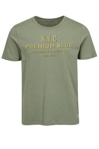 Tricou verde cu print Jack & Jones Joe