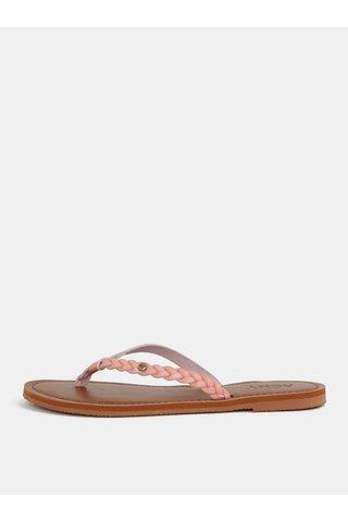 Papuci de dama flip-flop roz cu barete impletite Roxy Livia