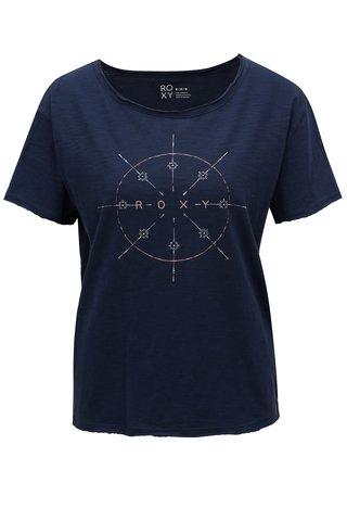 Tricou de dama albastru inchis cu print Roxy Mojito Party