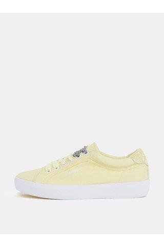 Tenisi galben din material textil cu platforma pentru femei - Pepe Jeans Rene Skate