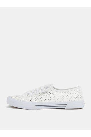 Tenisi albi cu aspect perforat pentru femei - Pepe Jeans Aberlady daisy