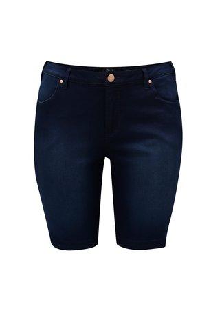 Pantaloni scurti albastru inchis slim din denim Zizzi