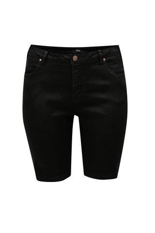 Pantaloni scurti negri slim din denim Zizzi