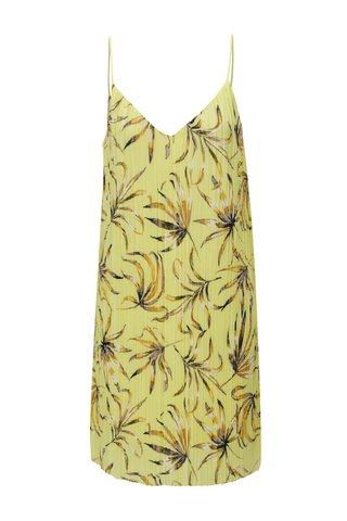Rochie plisata galben cu model floral - VILA Solana