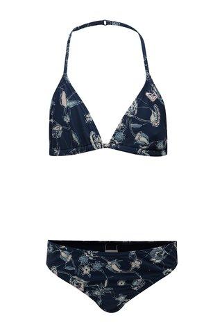 Tmavě modré holčičí dvoudílné květované plavky Roxy Be