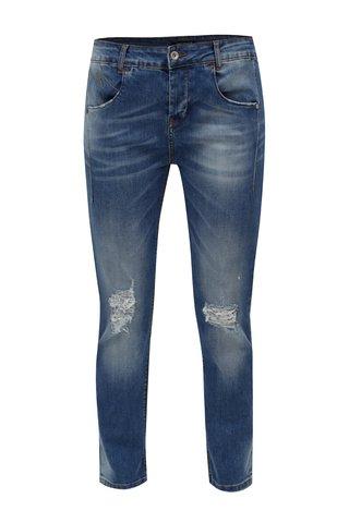 Modré zkrácené slim džíny s potrhaným efektem Fornarina Sampey