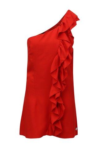 Červené šaty přes jedno rameno s volánem Fornarina Leila