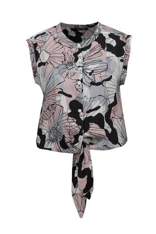 Bluza roz-gri scurta cu model floral si nod in talie Fornarina Tiffany