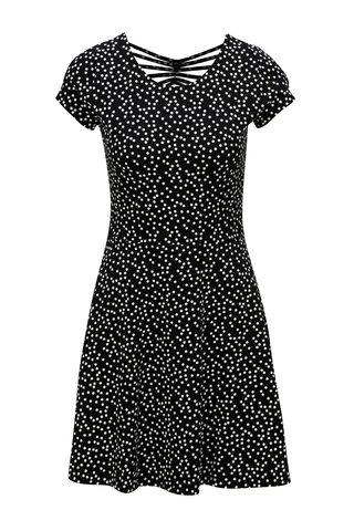 Rochie negru-alb cu buline si maneci scurte TALLY WEiJL
