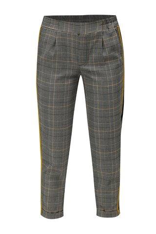 Pantaloni gri cu model tartan si dungi laterale galben TALLY WEiJL