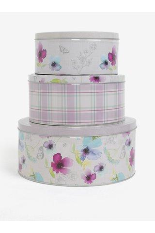 Set de trei cutii metalice alb-mov cu motiv floral Cooksmart
