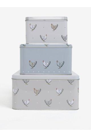 Set de trei cutii metalice albastru-gri Cooksmart